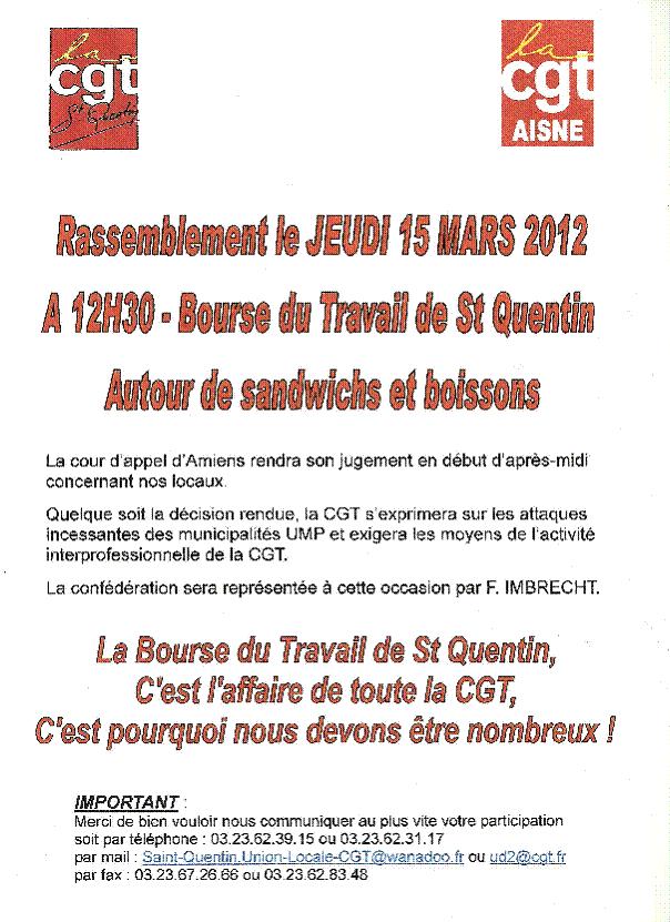 Saint-Quentin et les mauvais coups de X.Bertrand :La section de St-Quentin du PCF appelle à participer nombreux au rassemblement de soutien pour garder notre