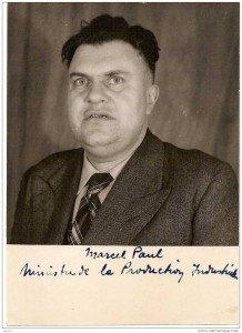 Marcel Paul, ouvrier électricien, déporté-résistant, ministre communiste de la nationalisation de l'électricité et du gaz en 1946, grâce aux luttes impulsées par le PCF.
