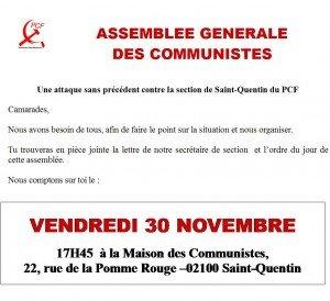 Infos communistes, Assemblée Générale le vendredi 30 novembre à 18h à la maison des communistes de Saint-Quentin dans 36éme Congrès du PCF ag-nov2012-300x274