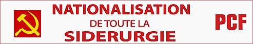 Les camarades de Lorraine : Nationalisation de toute la sidérurgie dans Communisme-Histoire- Théorie banderole