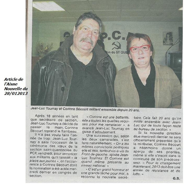 Des voeux très fraternelles, une nouvelle direction pour notre section de saint-Quentin du PCF, le discours de la nouvelle secrétaire de Section Corinne BECOURT dans 36éme Congrès du PCF sans-titre