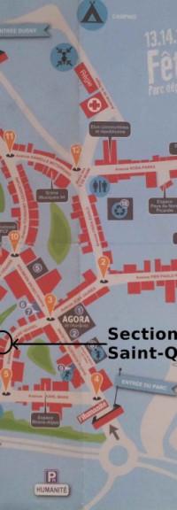 Plan de la Fête de l'Humanité 2013 : emplacement du stand de la Section de Saint-Quentin