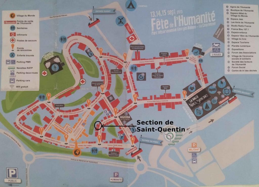 Plan de la Fête de l'Humanité 2013 : emplacement du stand de la Section de Saint-Quentin dans Fête des Libertés-Fête Huma-Repas ECT plan-fete-de-lhuma-saint-quentin
