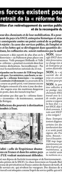 Manif cheminots 22 mai: tract pour la poursuite du mouvement
